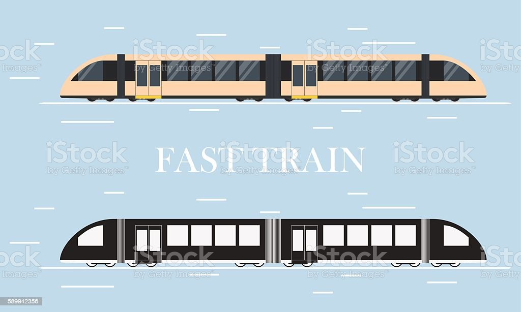 Fast modern train. The silhouette of a train. vector art illustration