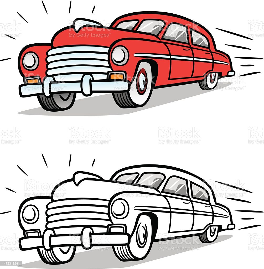 Fast Moving Fifties Car royalty-free stock vector art