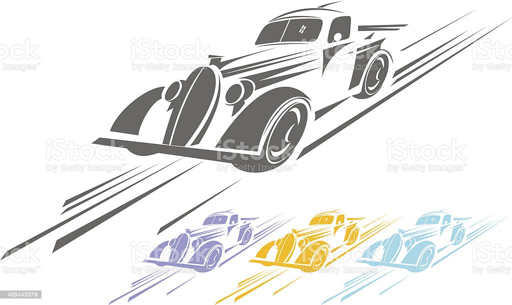 Fast old car royalty-free stock vector art