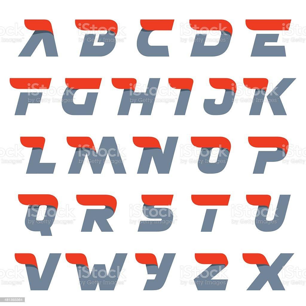 Fast speed english alphabet letters. vector art illustration