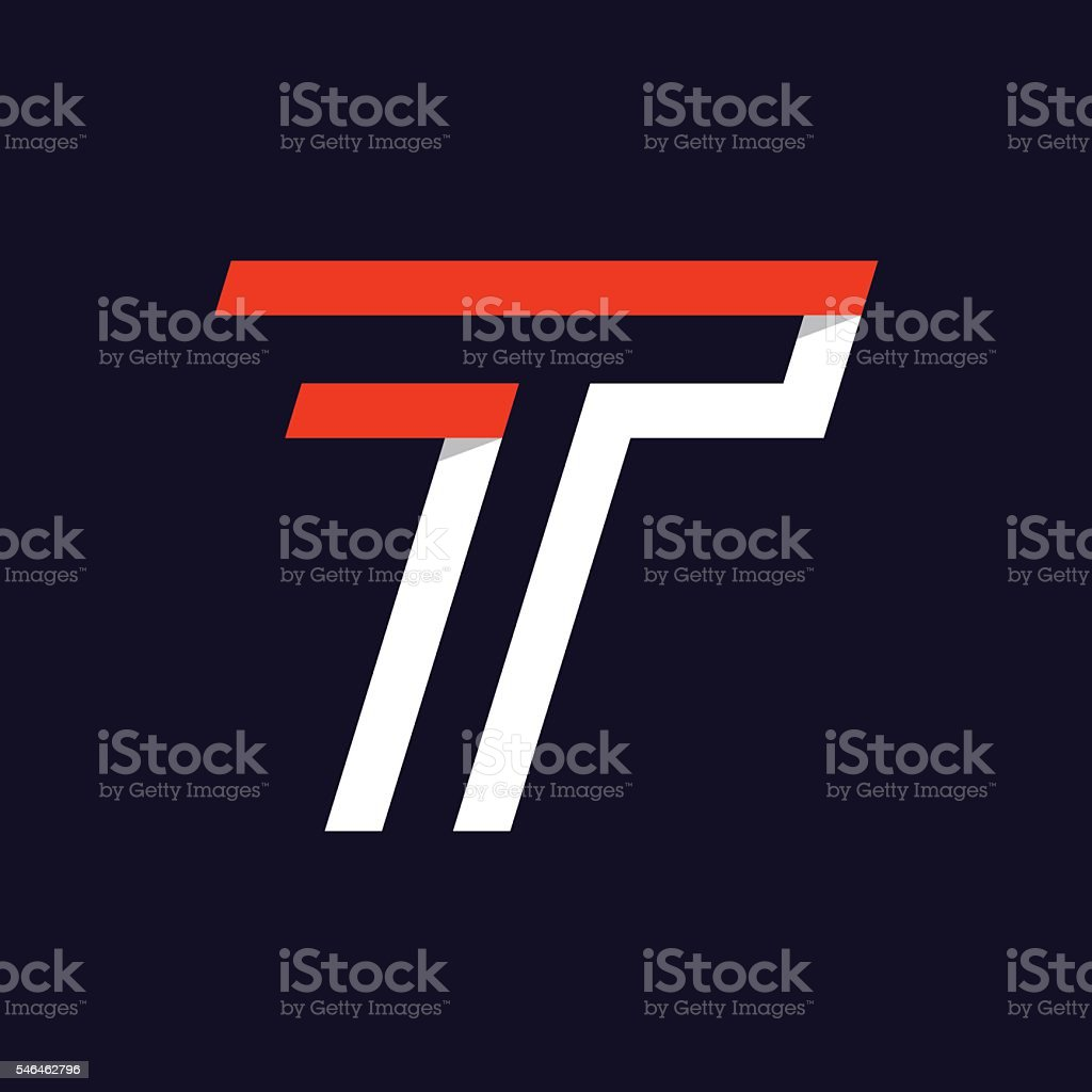 Fast speed two lines letter T icon on black. vector art illustration