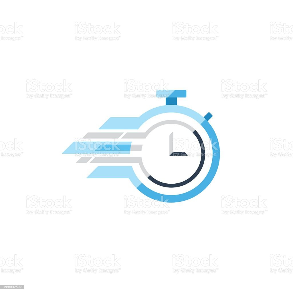 Fast time concept, rush hour logo, training session icon vector art illustration