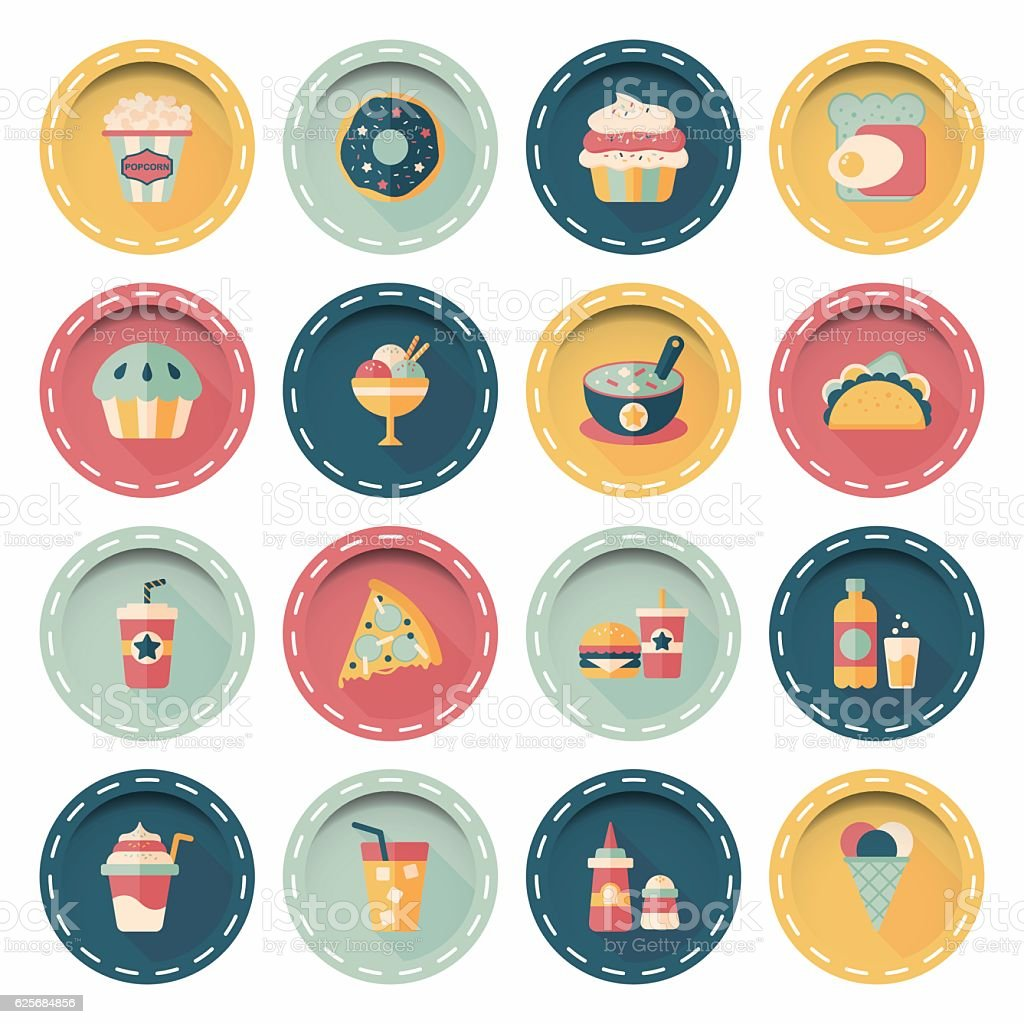 Fastfood and drinks icon set vector art illustration