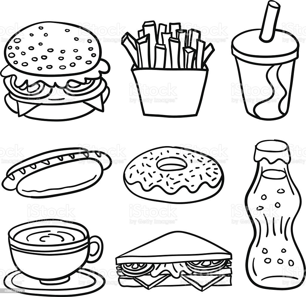 Fastfood collection in Black and White royalty-free stock vector art