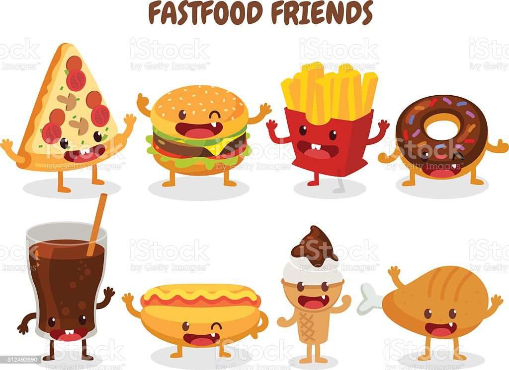 Fastfood friends vector art illustration