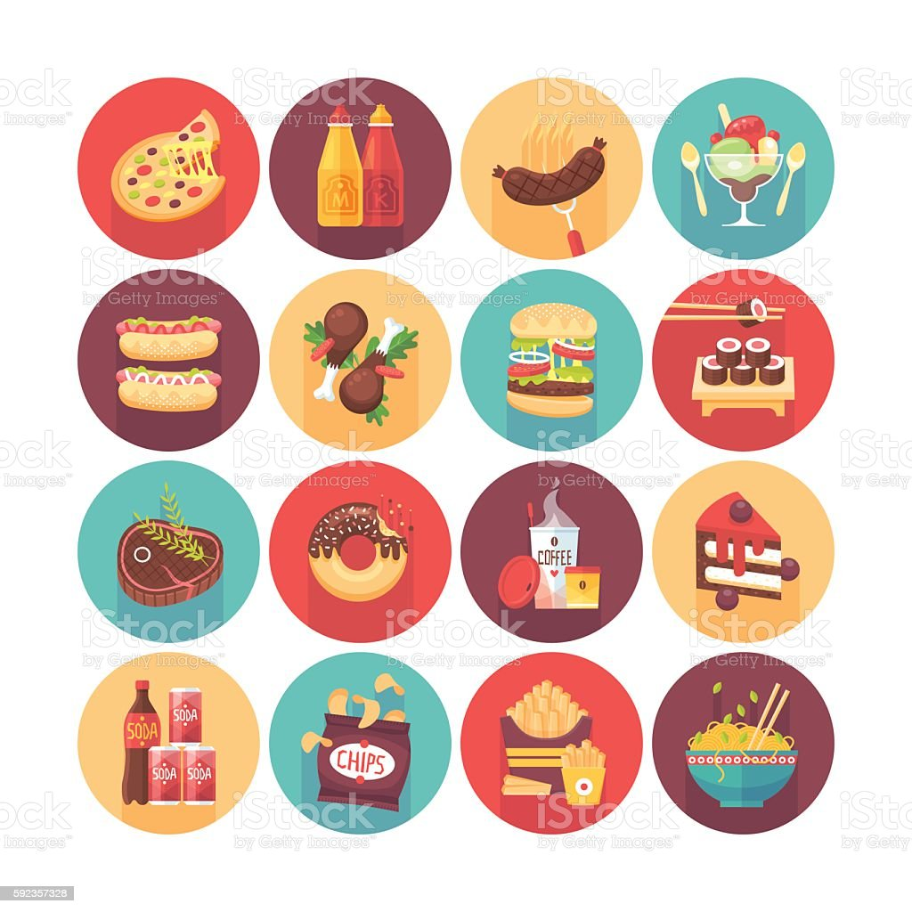Fastfood, junk food, snack meal. vector art illustration