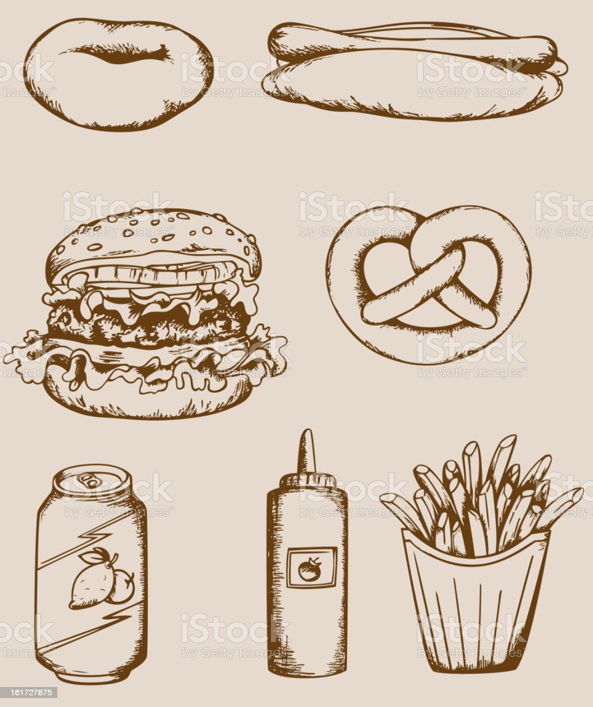 Fastfood vintage icons vector art illustration
