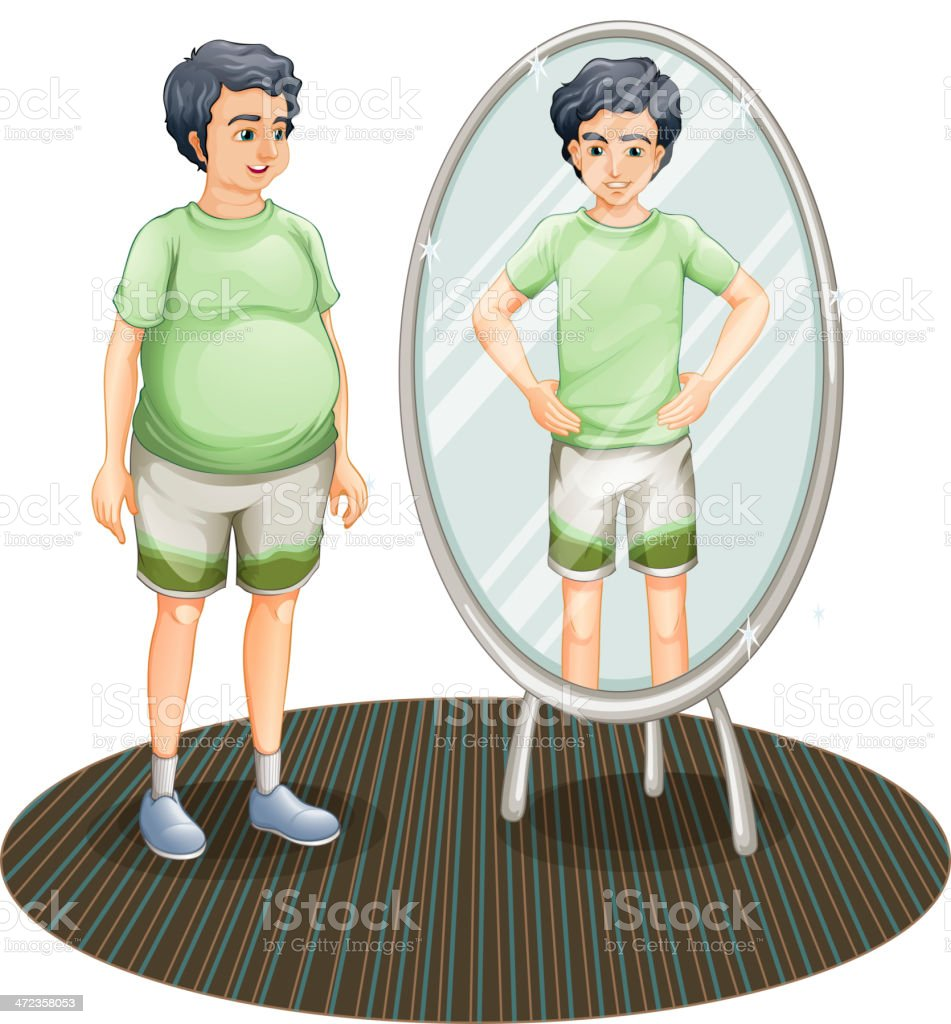 Fat and a skinny man inside the mirror royalty-free stock vector art