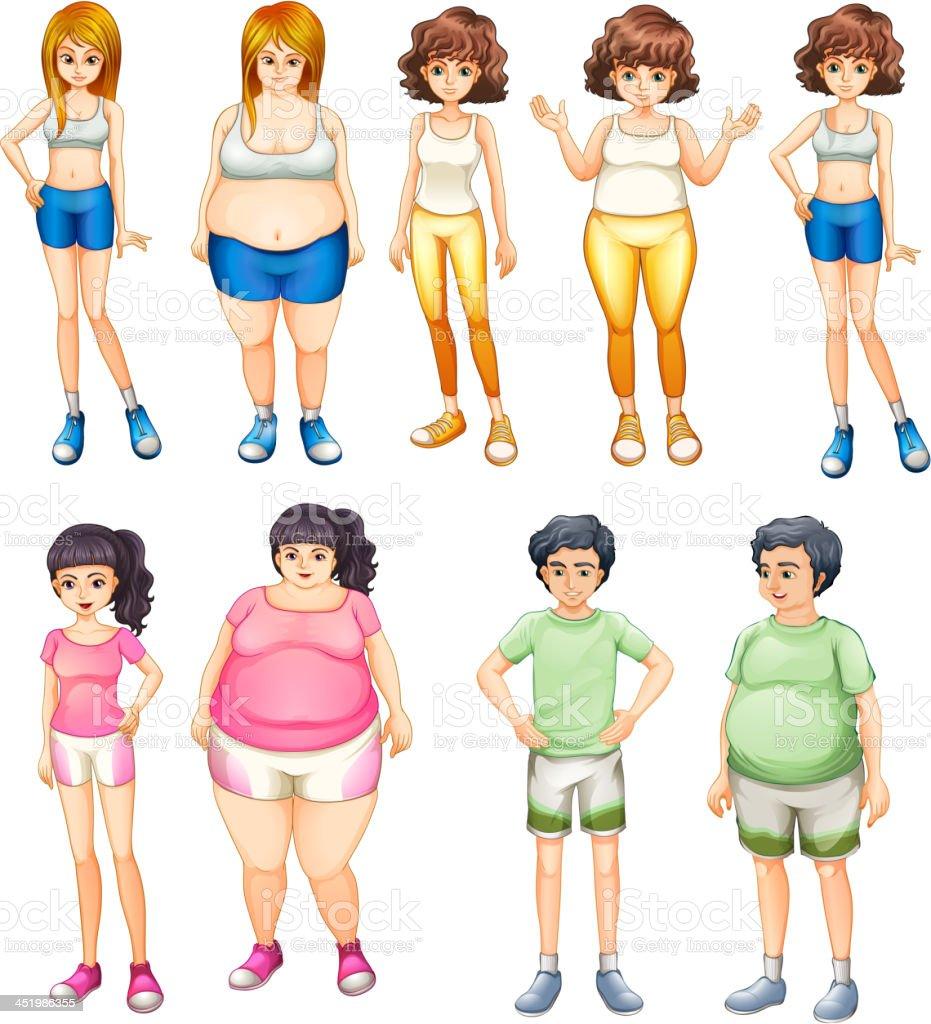 Fat and skinny people royalty-free stock vector art
