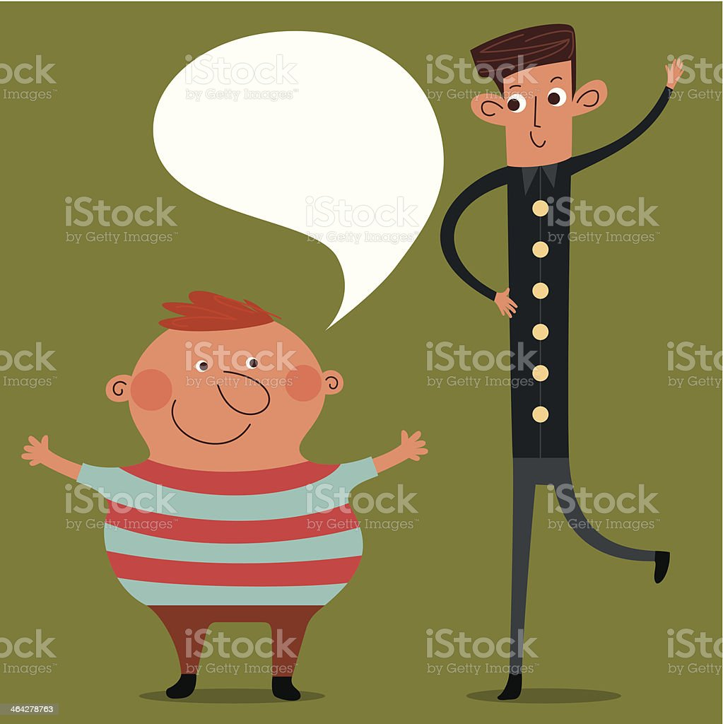 Fat and Slim man character vector art illustration