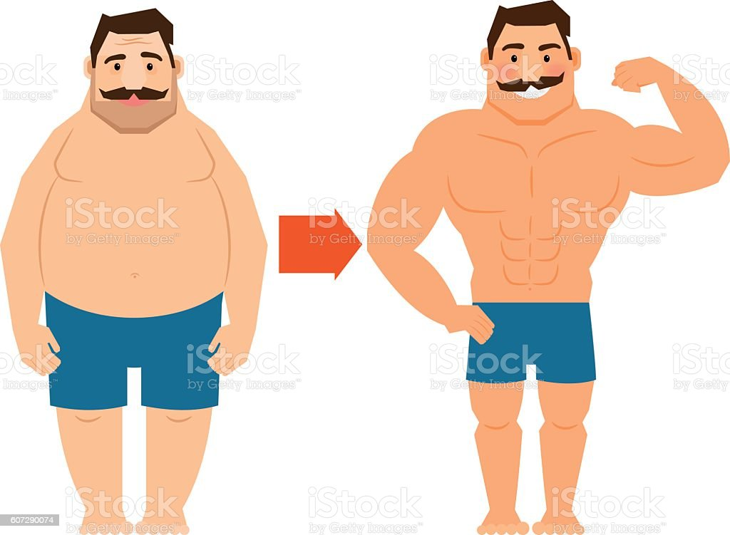 Fat and slim man with mustache vector art illustration