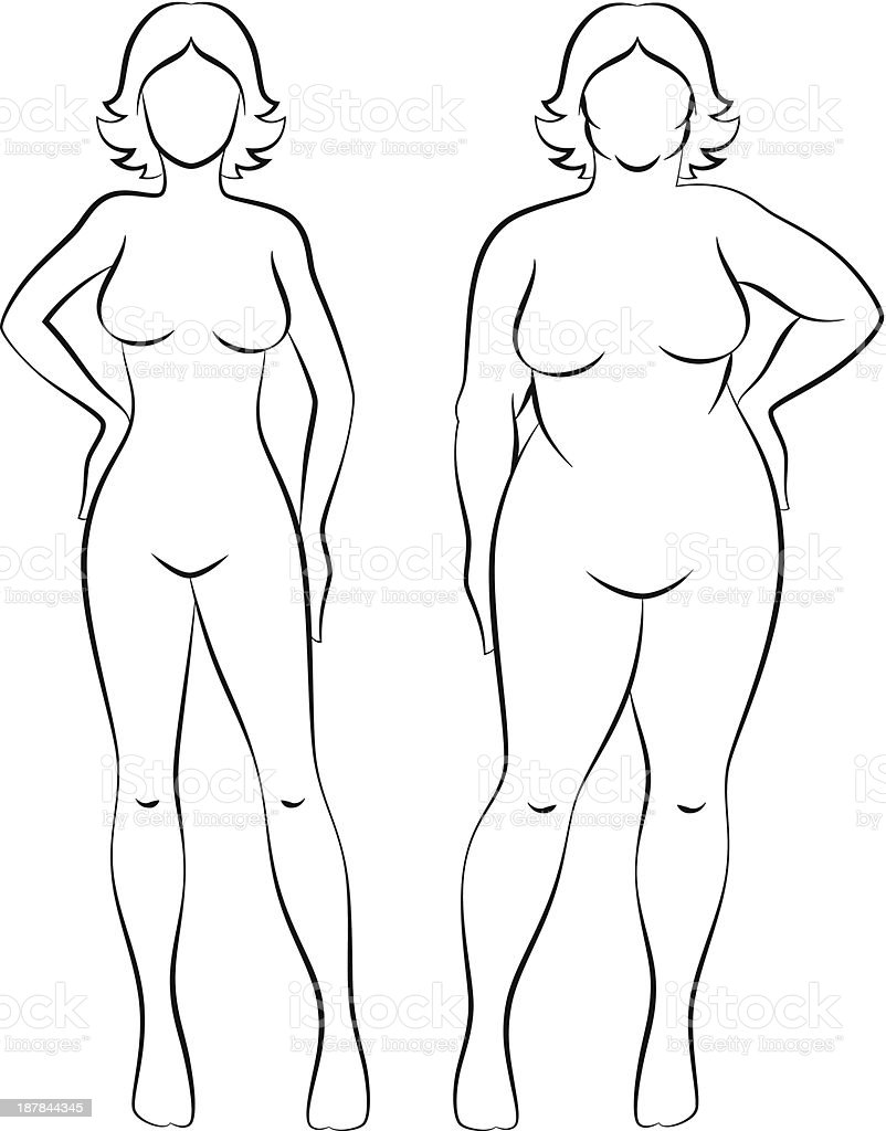 Fat and slim woman vector art illustration