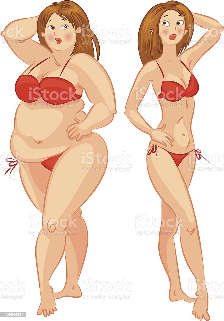 Fat and thin royalty-free stock vector art