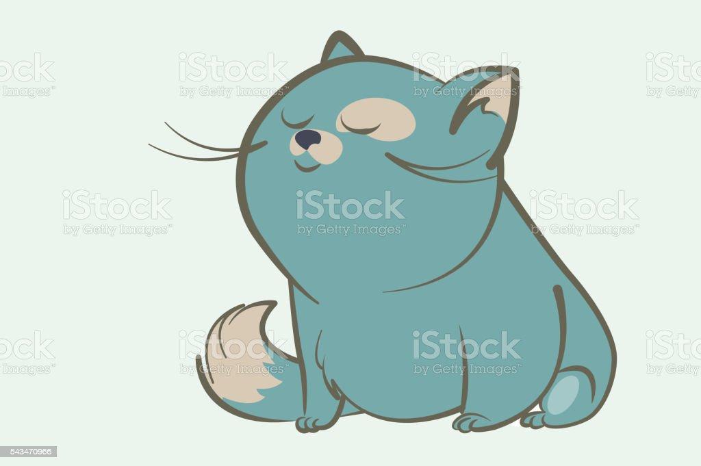 fat blue cat dream vector art illustration