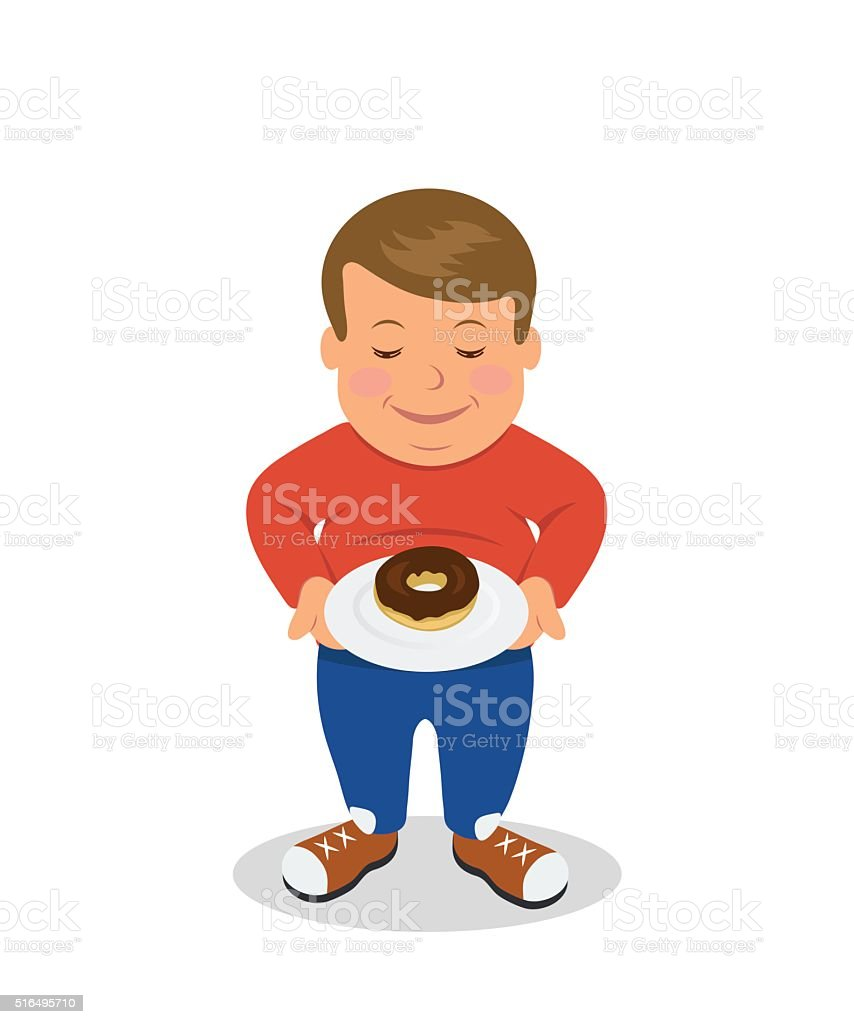 Fat boy standing and holding a plate with donuts. vector art illustration
