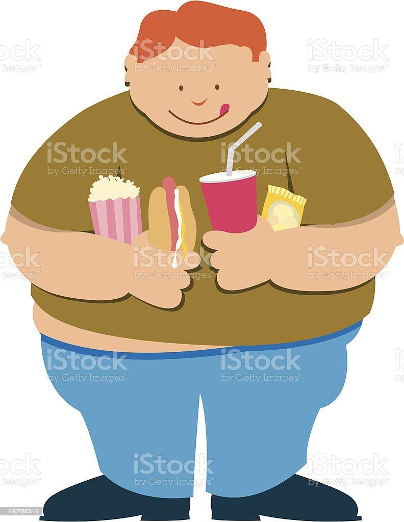 Fat boy vector art illustration