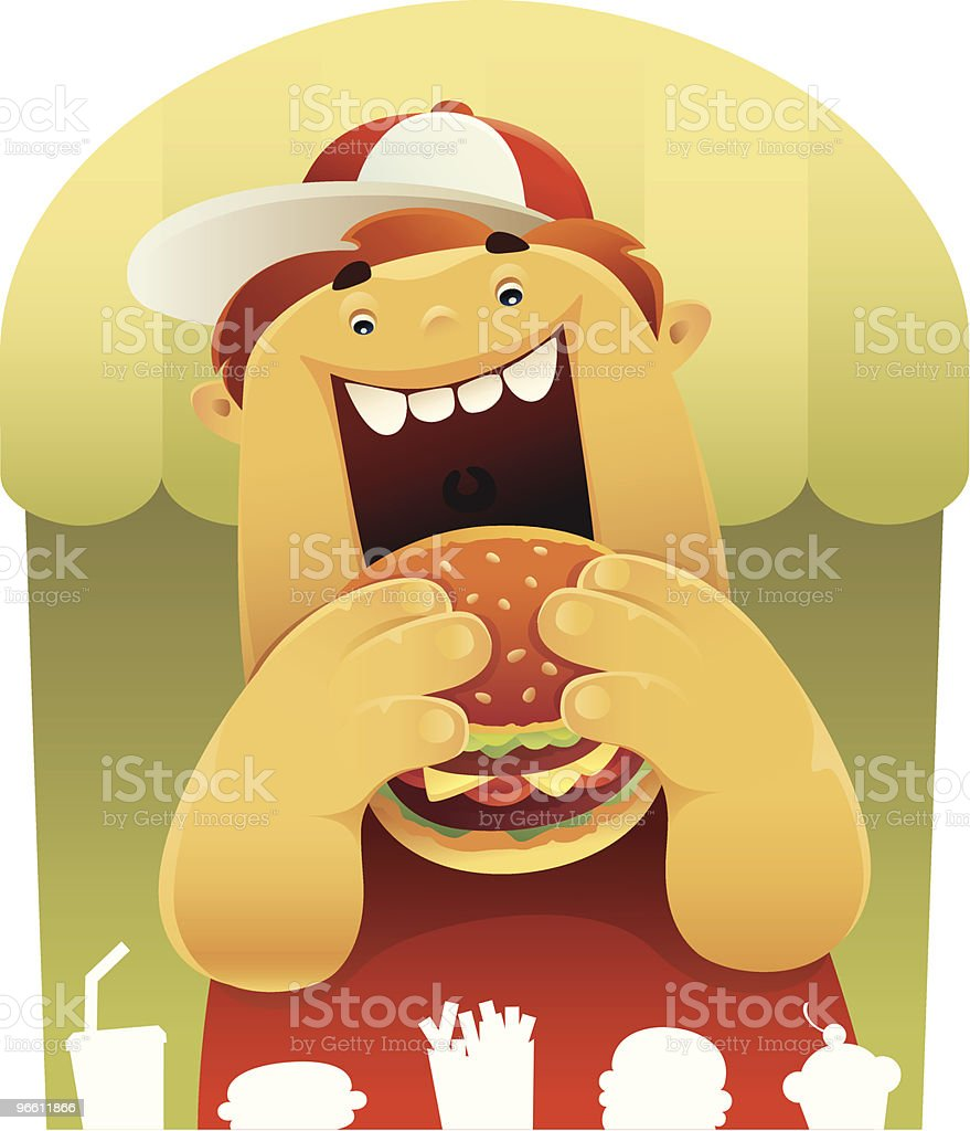 fat boy's meal vector art illustration