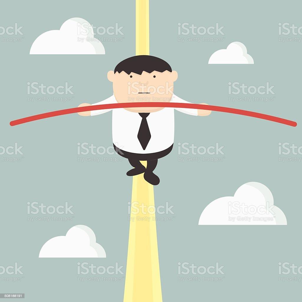 fat businessman acrobats vector art illustration