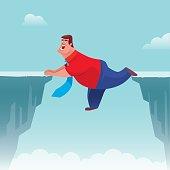 fat businessman falling between cliffs