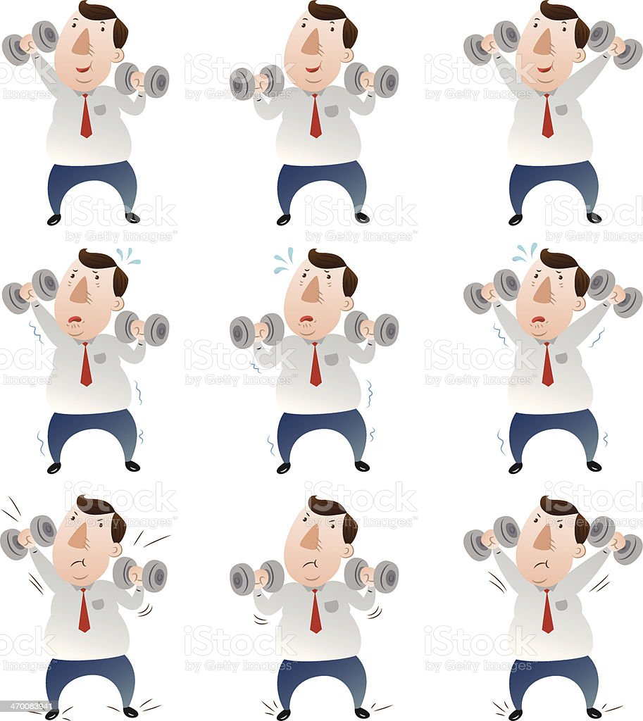 Fat businessman with dumbbell set royalty-free stock vector art