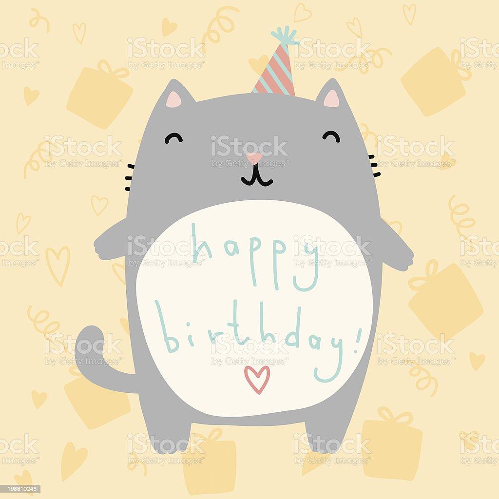 Fat cat birthday card royalty-free stock vector art