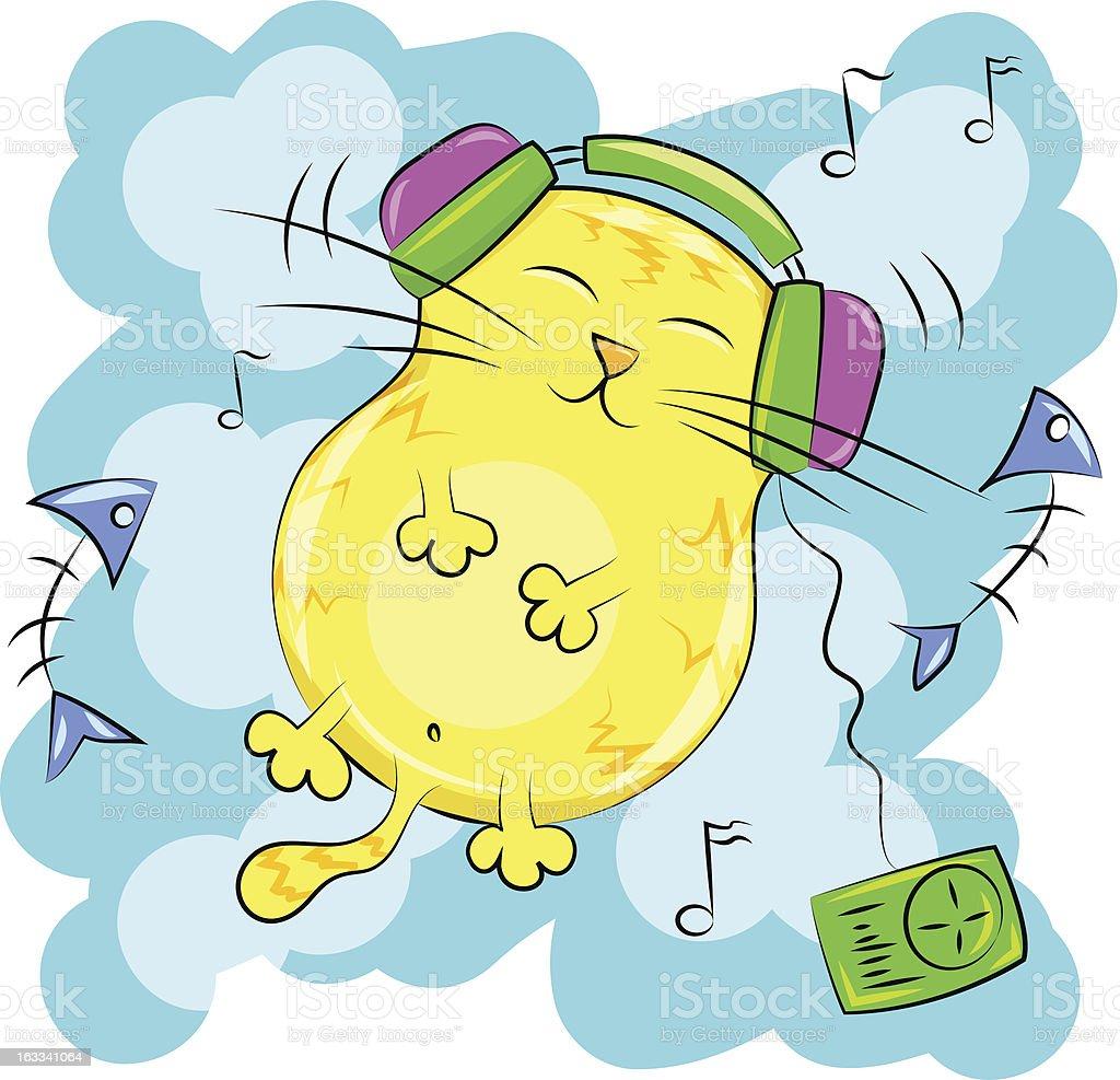 fat cat listening to music on headphones vector art illustration