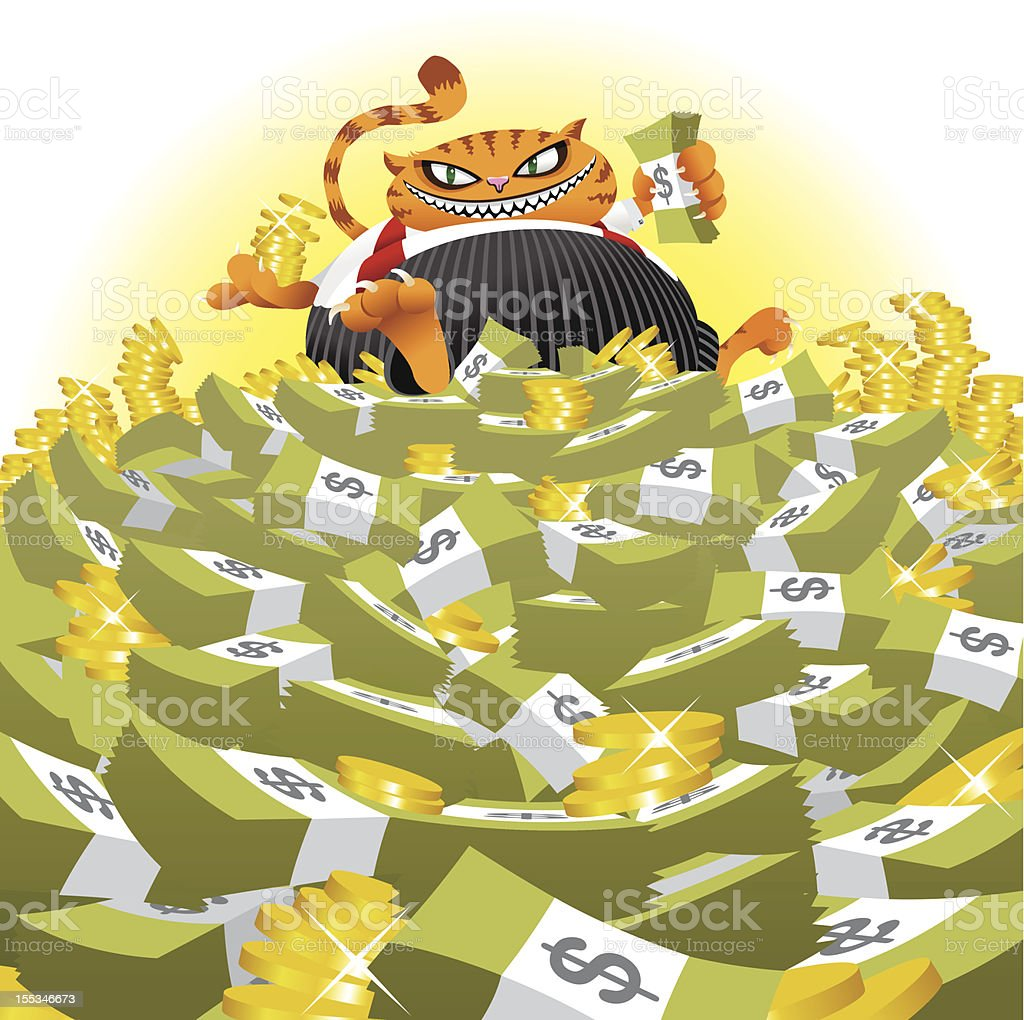 Fat Cat on Money Pile vector art illustration