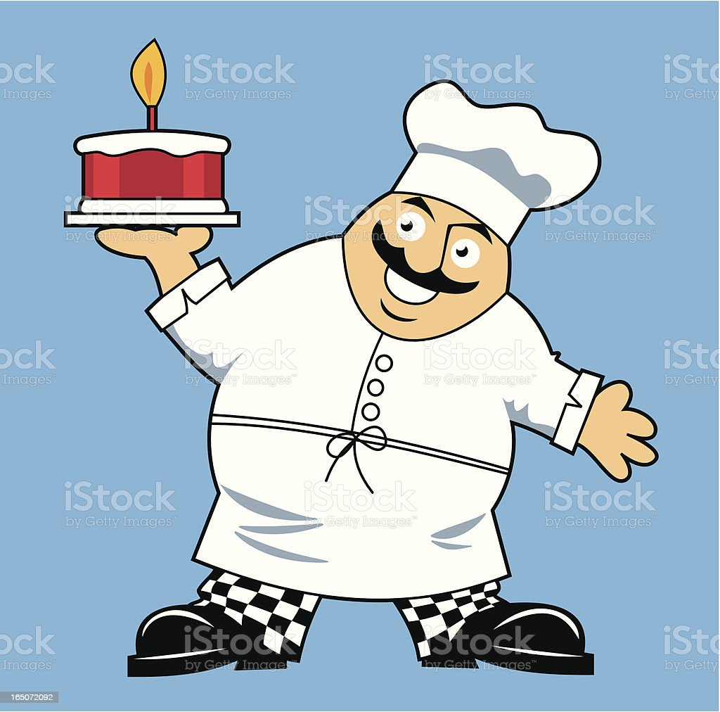 Fat Chef WIth Cake vector art illustration