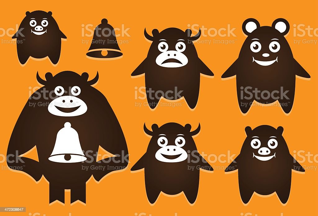 Fat creatures shapes royalty-free stock vector art