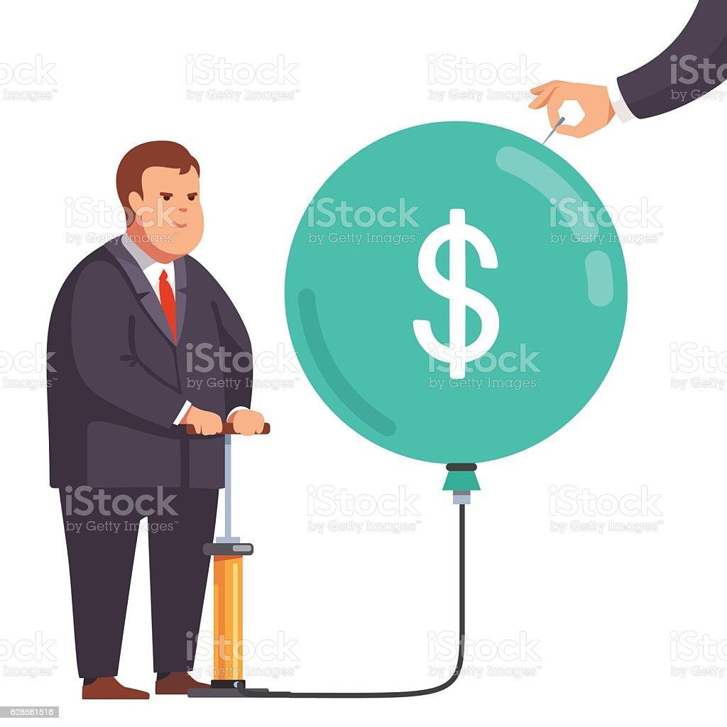 Fat financial businessman with market bubble vector art illustration
