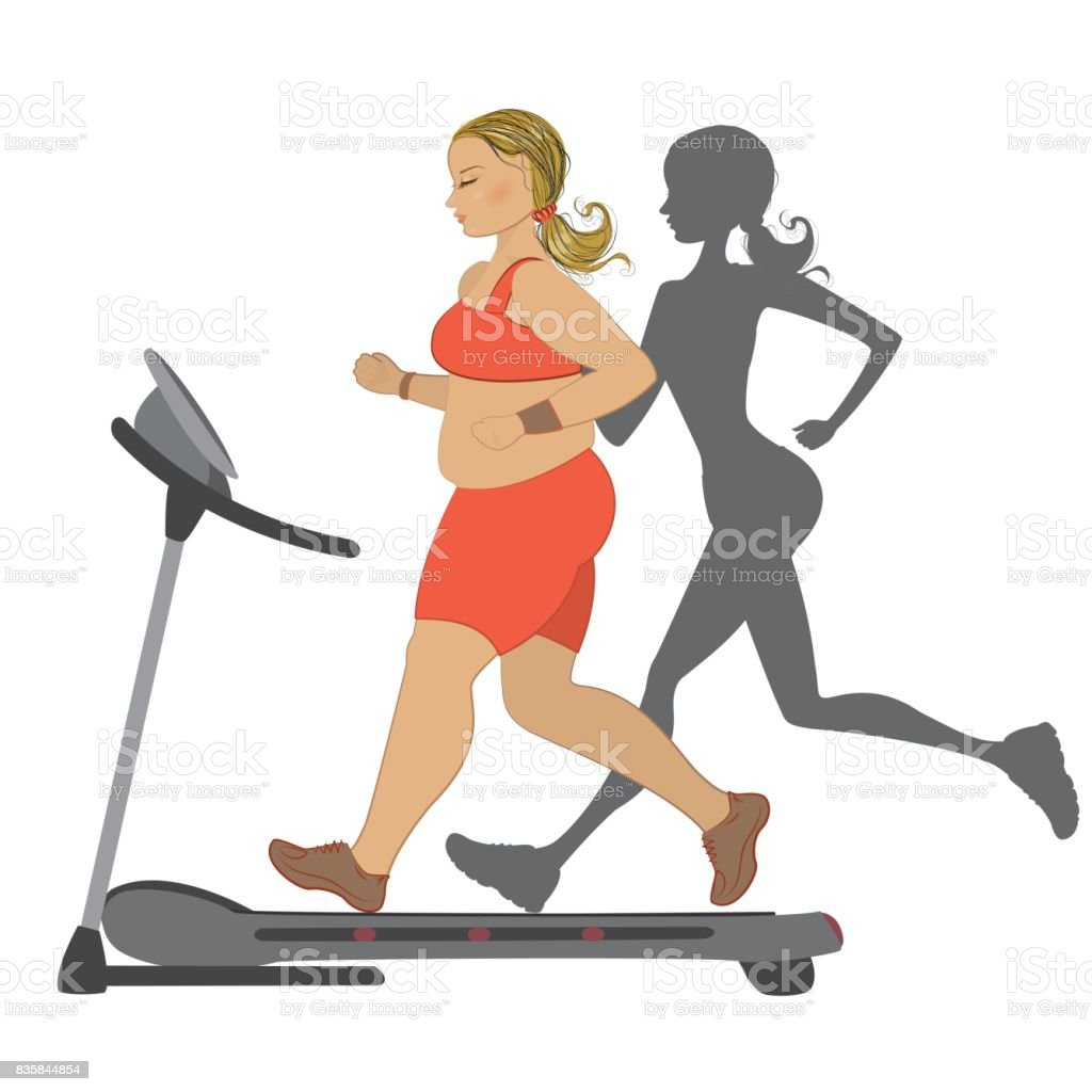 Fat girl running on a treadmill with her thin shadow vector art illustration