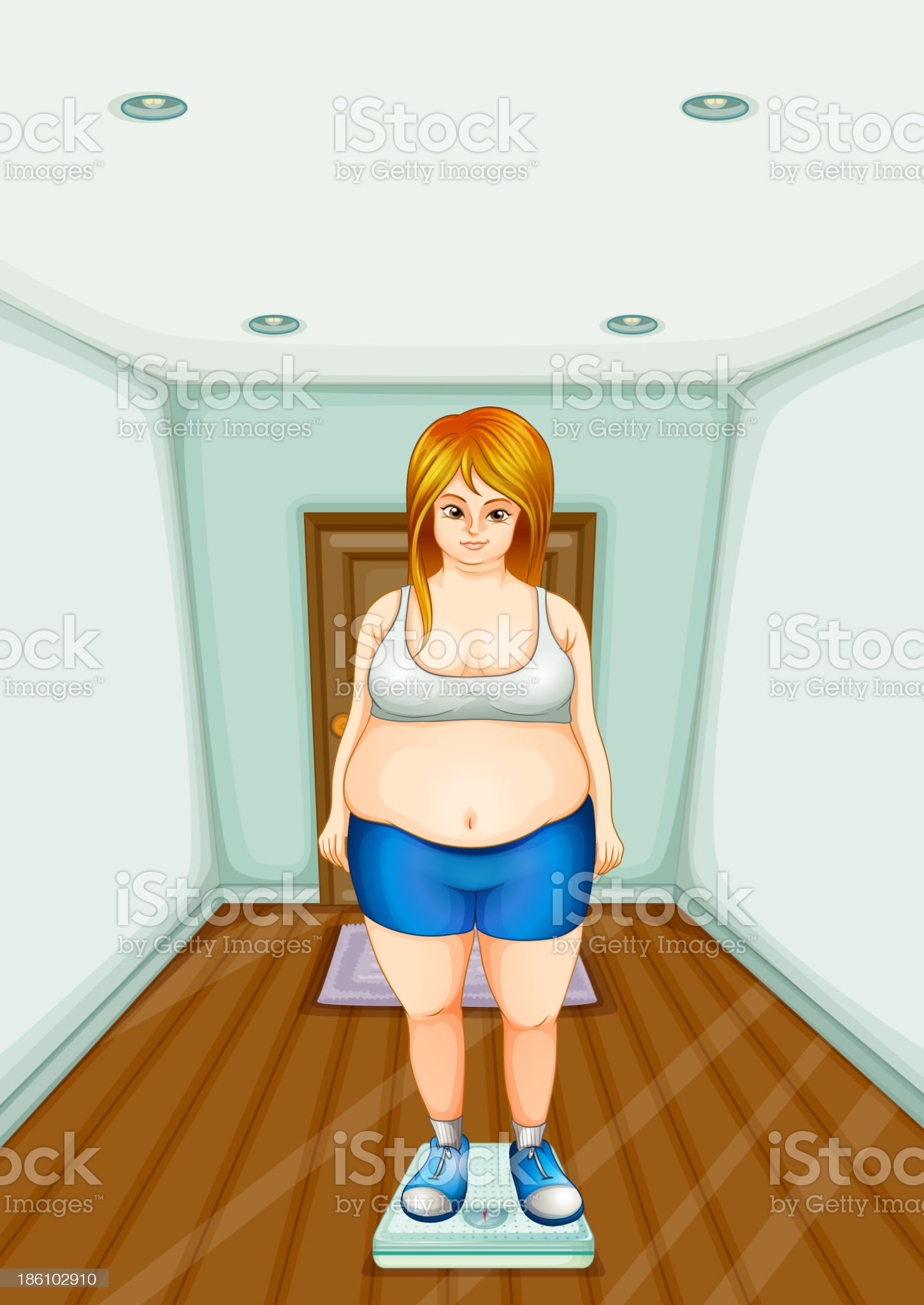 fat girl standing on a weighing scale royalty-free stock vector art