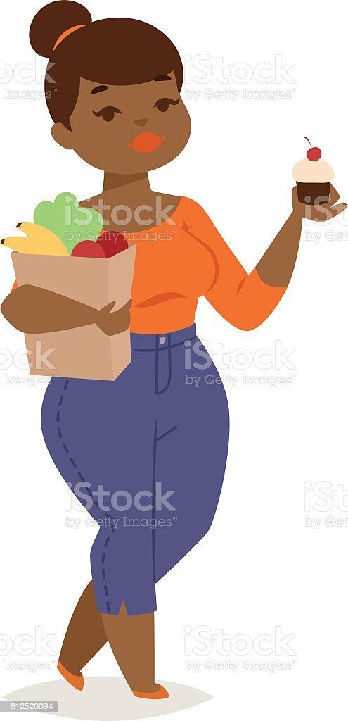 Fat girl vector illustration character vector art illustration