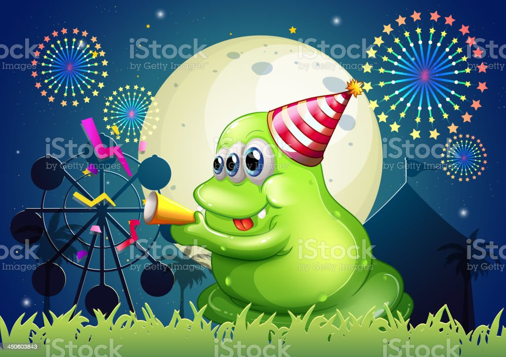 fat green monster celebrating in front of the carnival royalty-free stock vector art