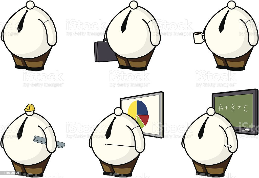 Fat Guys with Little heads: Workers royalty-free stock vector art