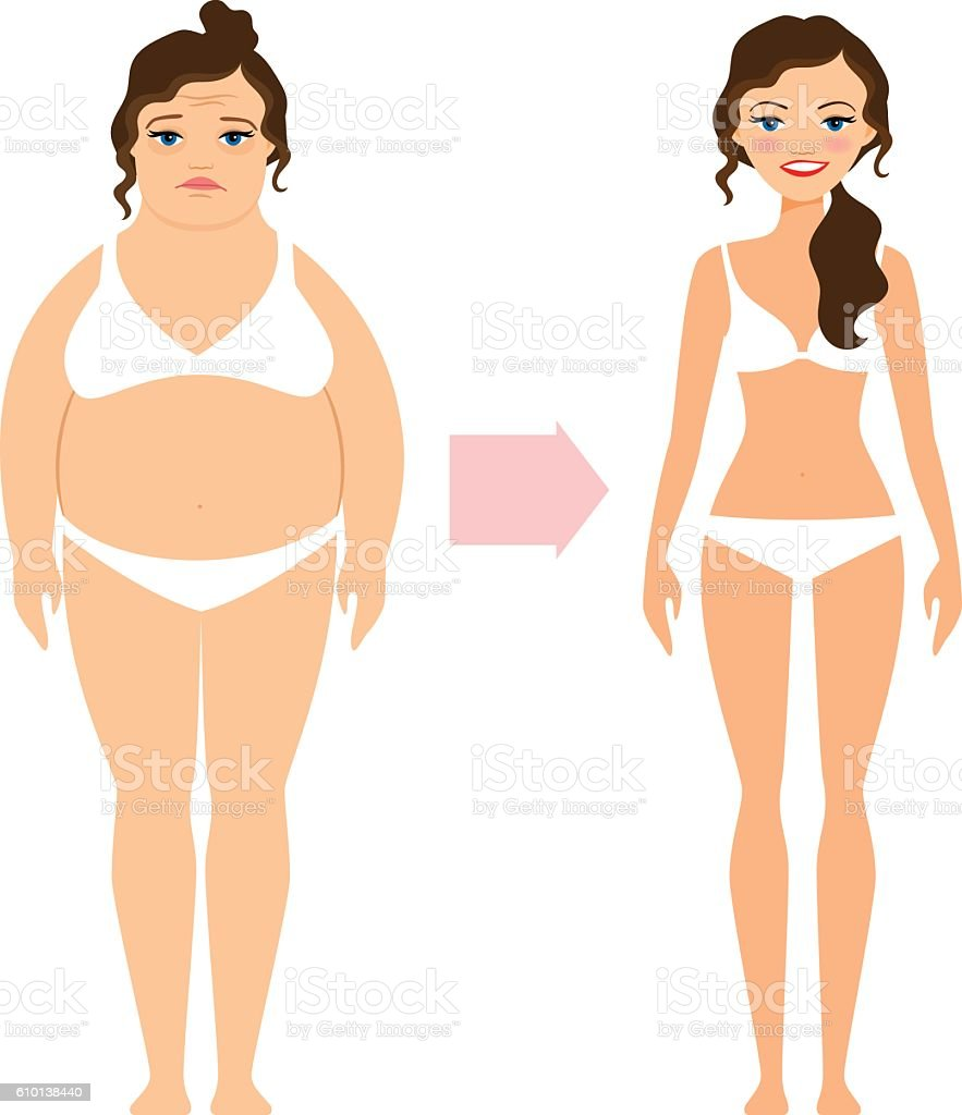 Fat lady and slim diet woman vector art illustration