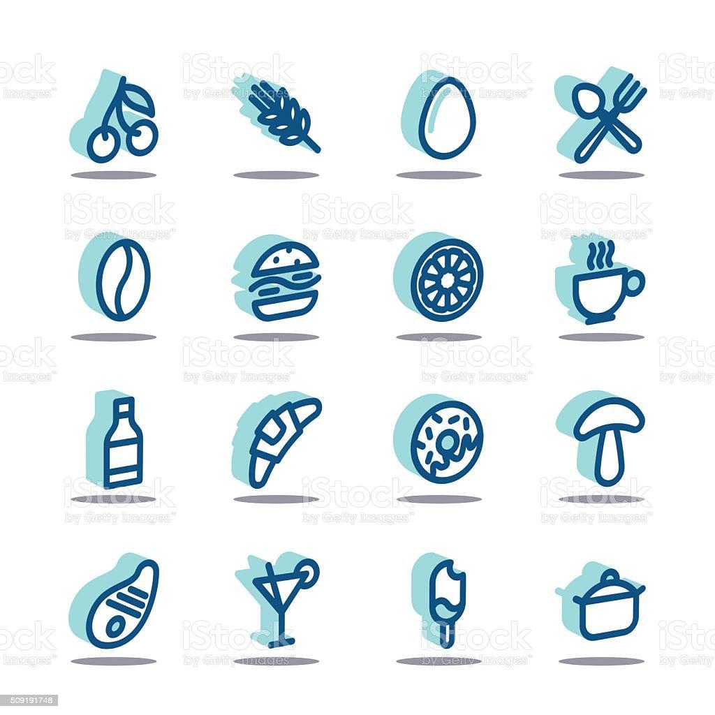3D Fat Line Icons vector art illustration