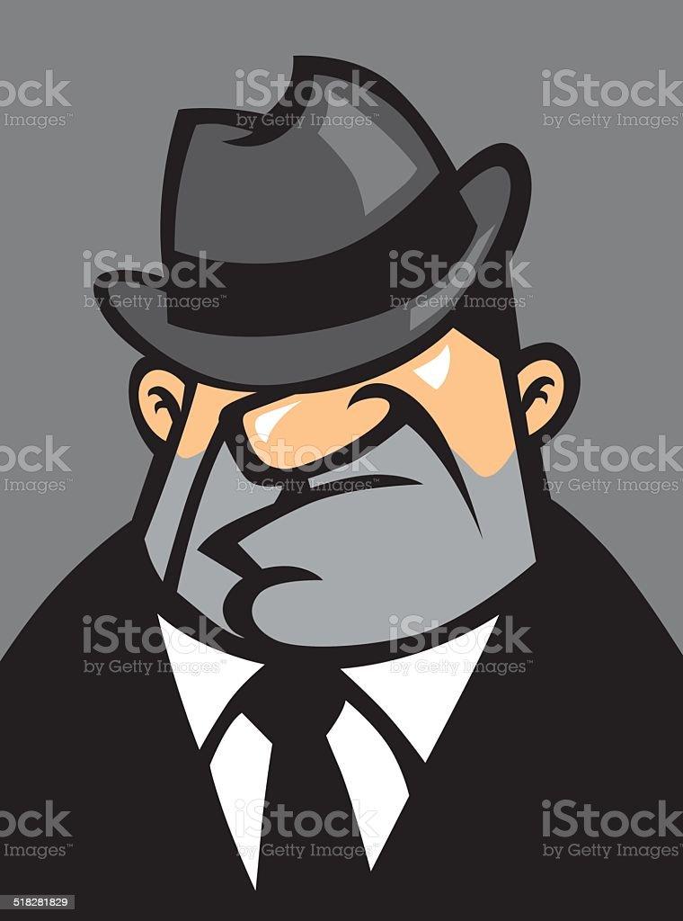 fat mafia potrait vector art illustration