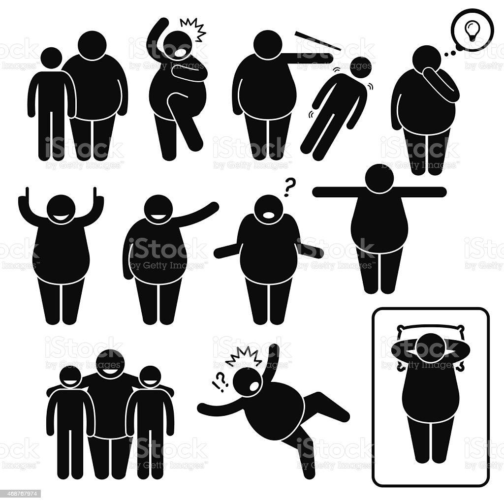 Fat Man Action Poses Postures Pictogram vector art illustration