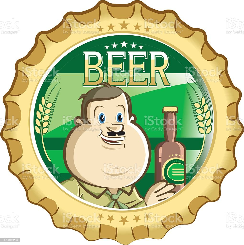 fat man and his delicious beer royalty-free stock vector art