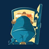 Fat man and night open fridge