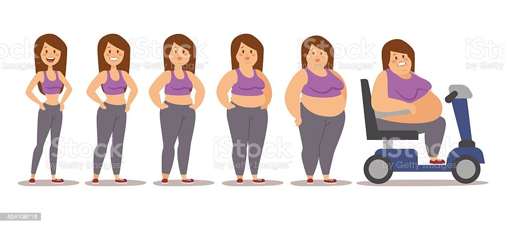 Fat man cartoon style different stages vector illustration. Obesity process vector art illustration