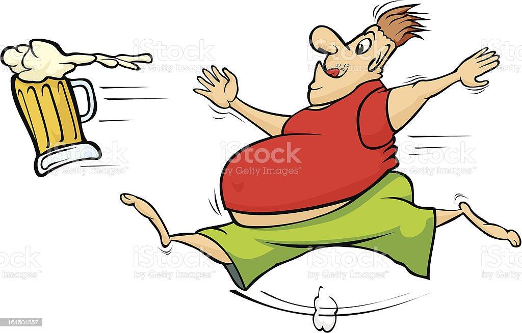 fat man chasing a mug of beer royalty-free stock vector art