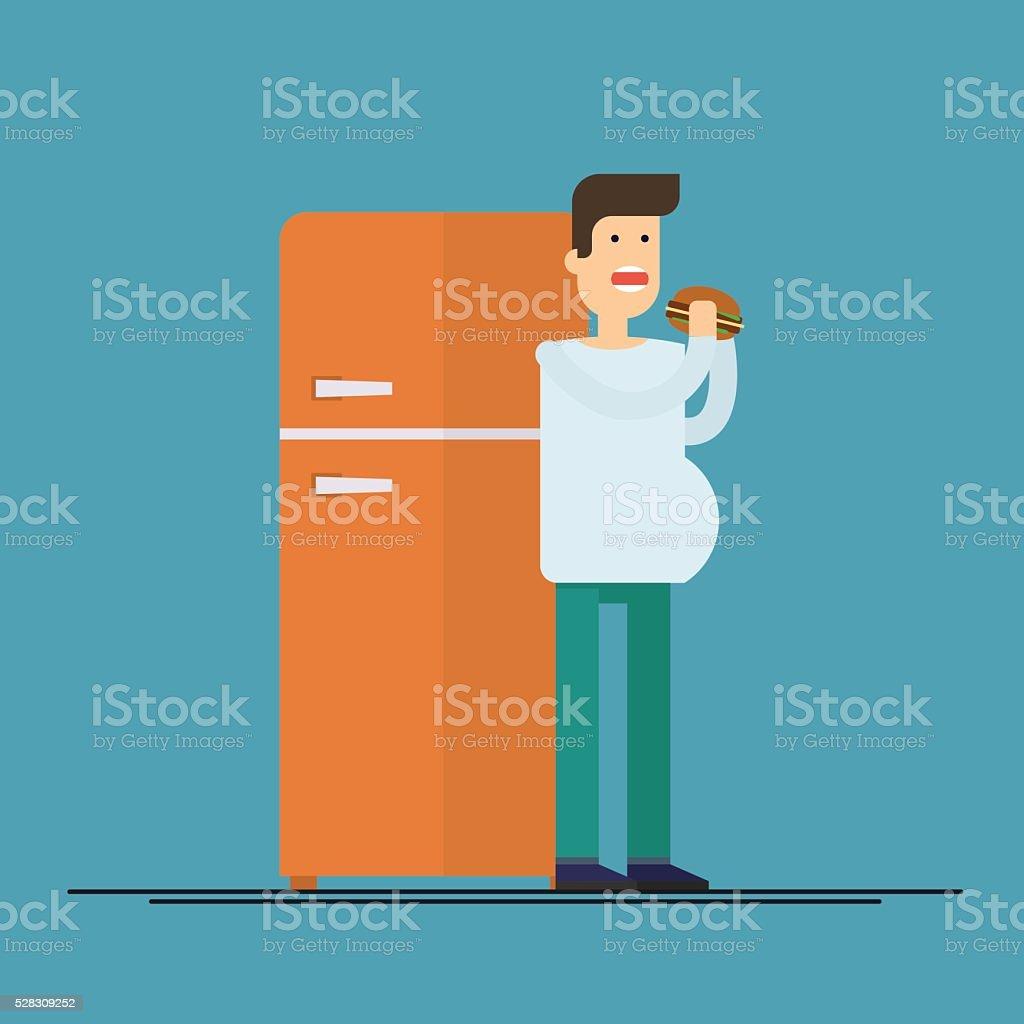 Fat man eating hamburger on background of the refrigerator vector art illustration