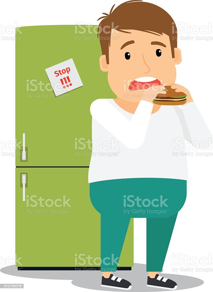 Fat man eating hamburger vector art illustration