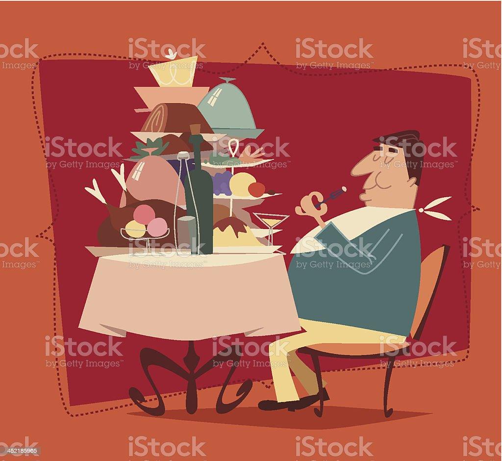 Fat man eating in a restaurant. Retro style vector illustration vector art illustration