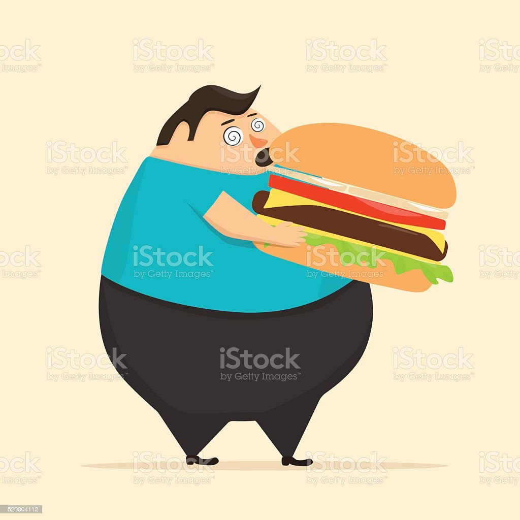 Fat man in state of hypnosis eat burger vector art illustration