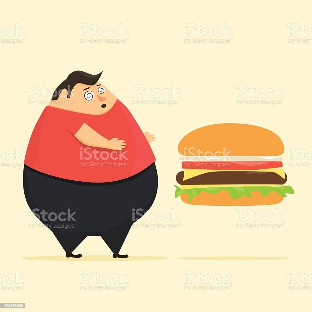 Fat man in state of hypnosis wants burger vector art illustration