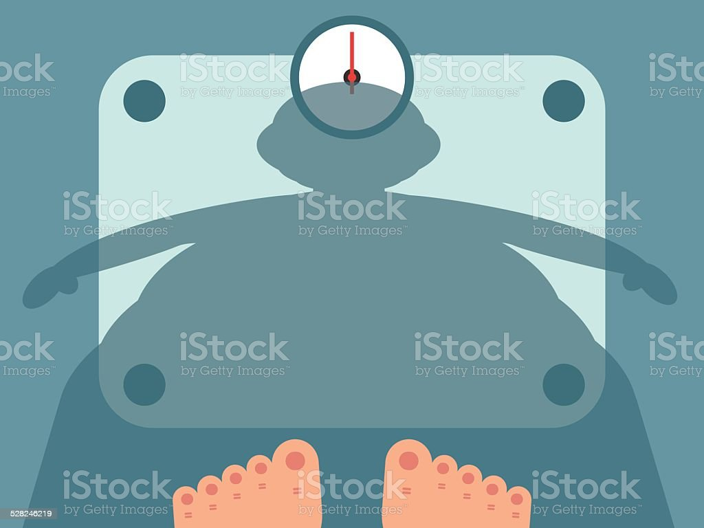 Fat man measuring weight on bathroom scale, vector vector art illustration