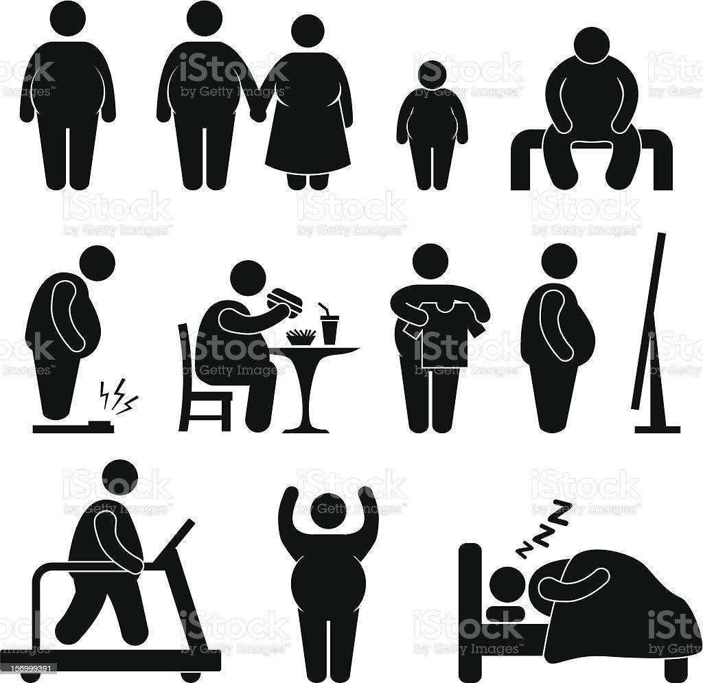 Fat Man Obesity Overweight Pictogram vector art illustration